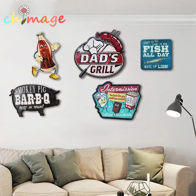 Estilo Americano irregular sombra Vintage Cartel de chapa placa Bar pub casa Casa Cafe Restaurante Decoración de Pared Retro Metal Art Poster