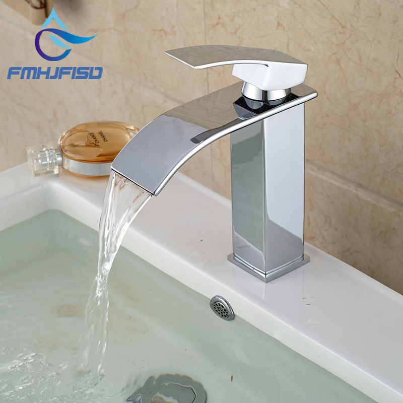 Free Shipping Wholesale And Retail Promotion Polished Chrome Brass Waterfall Bathroom Basin Faucet Square Vanity Sink Mixer Tap wholesale and retail free shipping tall square waterfall bathroom basin faucet single handle hole vanity sink mixer tap