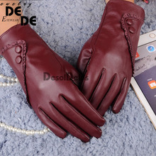 Luxurious Fashion Hot Solid Women Girl Leather Winter Super Warm leather women Gloves Cashmere 2019 winter gloves.