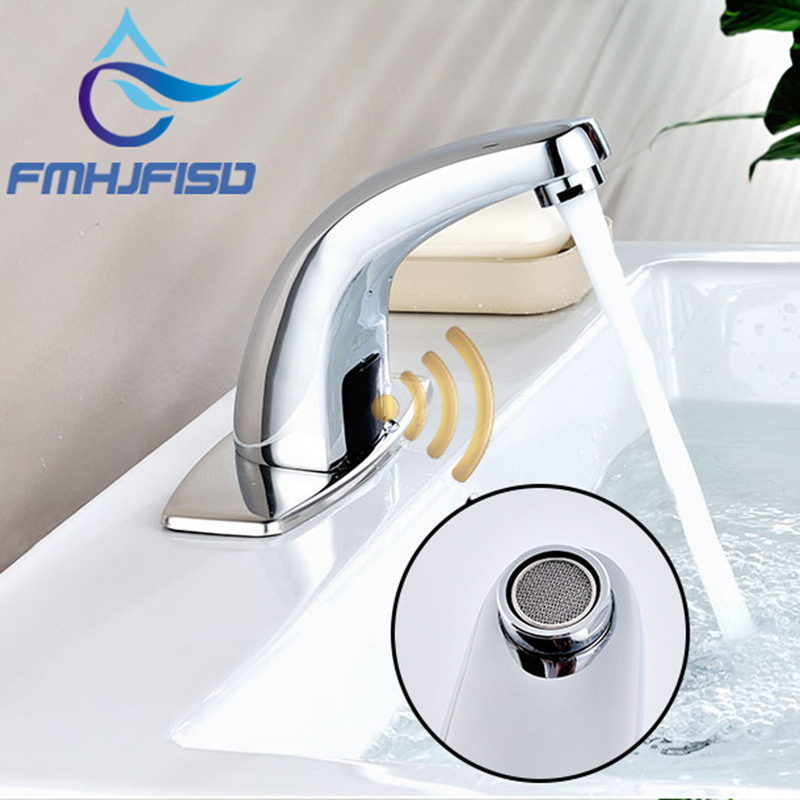 Chrome Automatic Sense Faucet Hot and Cold Water Mixer Tap Battery Power Sense Faucet With Cover Plate collocation and preposition sense