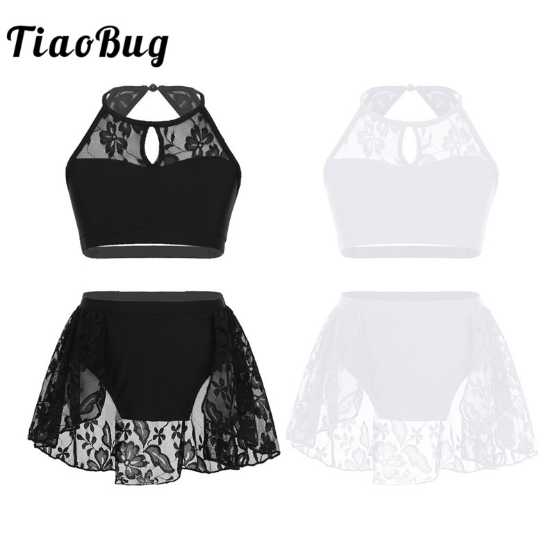 TiaoBug Kids Teens Halter Lace Splice Ballet Tutu Dance Wear Gymnastics Top Shorts Set Girls Contemporary Lyrical Dance Costume