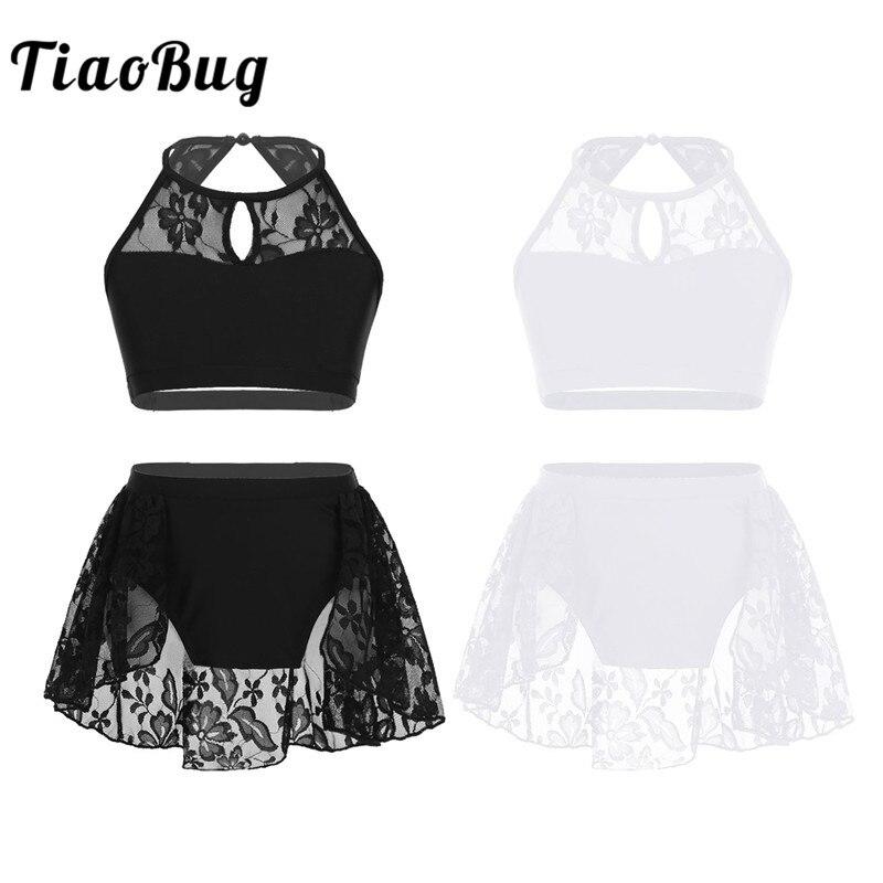 TiaoBug Kids Teens Halter Lace Splice Ballet Tutu Dance Wear Gymnastics Top Shorts Set Girls Contemporary Lyrical Dance Costume