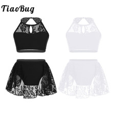 TiaoBug Kids Teens Halter Lace Splice Ballet Tutu Dance Wear
