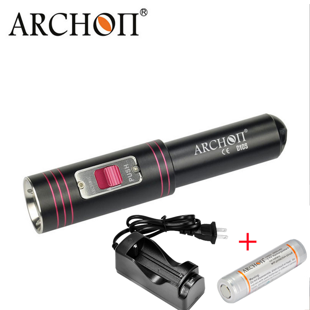 ARCHON D10S W16S Diving Flashlight 100% Original Cree XM-L U2 LED 860 Lumens Diving Torch diving lights Diving + battery charger archon dh25 wh31 1000 lumens cree xm l u2 canister snorkeling scuba diving light