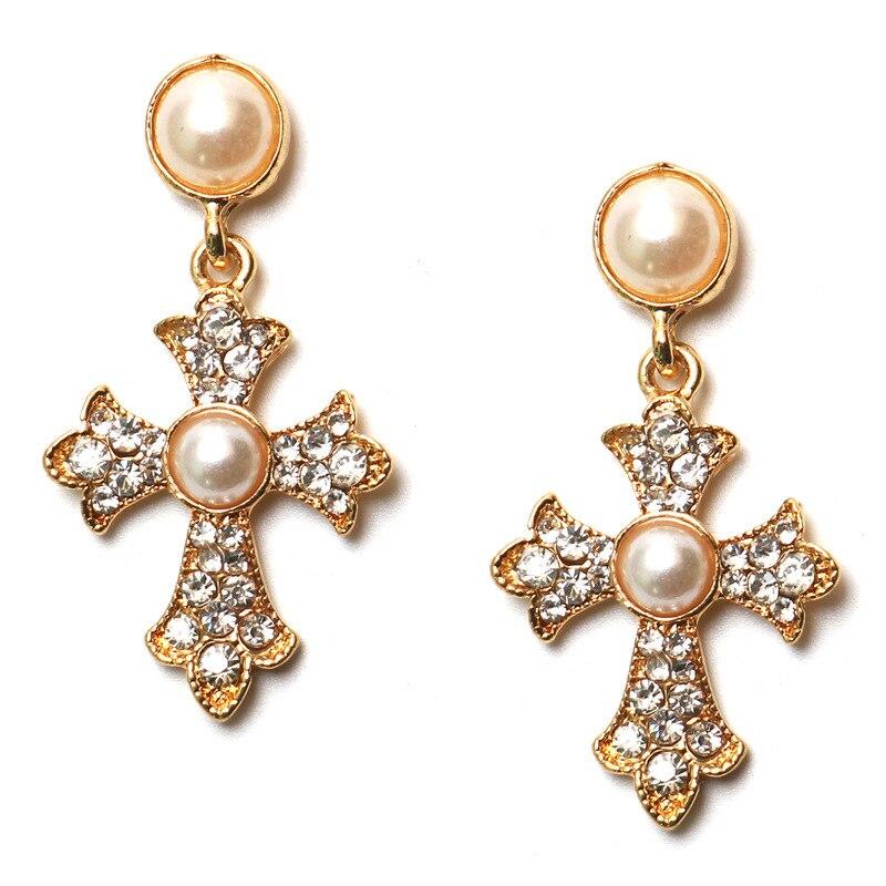New Cross Pearl Pendant Long Dangle Earrings for Women Fashion Lady Girl Wedding Party Jewelry