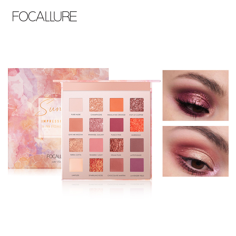 FOCALLURE 16 colors Sunrise Glitter Eyeshadow palette easy to wear Matte pigmented Eye shadow powder Eyeshadow palleteFOCALLURE 16 colors Sunrise Glitter Eyeshadow palette easy to wear Matte pigmented Eye shadow powder Eyeshadow pallete
