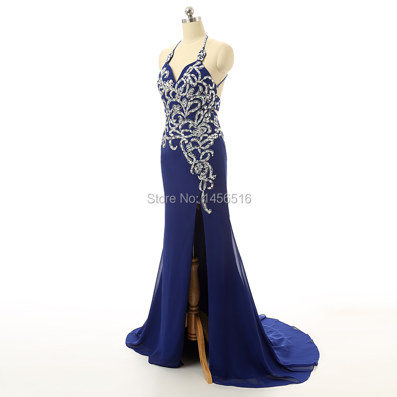 2019 Glamorous Sexy A Line Halter Beaded Appliqued High Side Slit Backless Floor Length Royal blue Evening Dresses Prom Gown-in Evening Dresses from Weddings & Events    3
