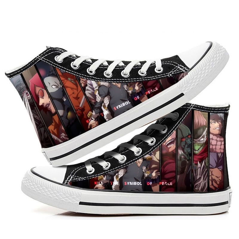 High-Q Unisex Anime My Hero Academia Canvas Shoes Japan Boku no Hero Academia Punk Rock Casual Canvas Shoes High Casual Shoes