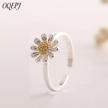OQEPJ Trendy Cute Flower Rings 925 Sterling Silver Wedding Simple Plant Opening Ring Temperament Sweet Flower Jewelry For Women цена