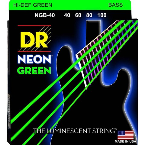 DR K3 Hi-def Neon Green Luminescent Bass Guitar Strings, Light 40-100 or Medium 45-105 or 5-strings 45-125 dr strings nmcb 40 nmcb 45 nmcb5 45 dr k3 neon bass guitar strings light multi color
