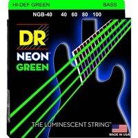 DR K3 Hi Def Neon Green Luminescent Bass Guitar Strings Light 40 100 Or Medium 45