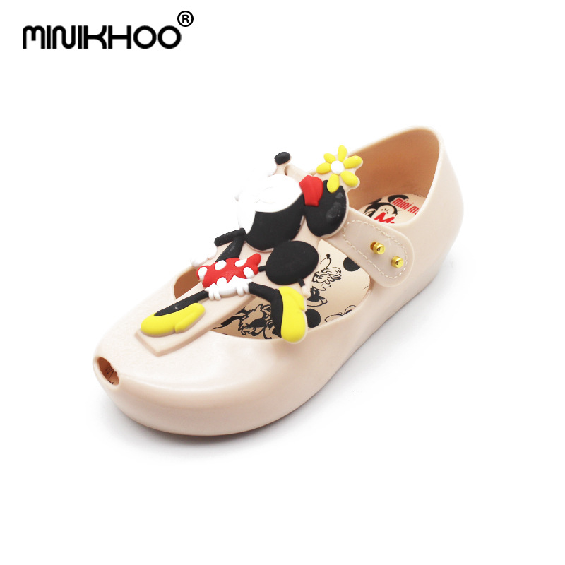 Mini Melissa Mickey & Minnie Sandals 2018 New Twins Pattern Shoes Jelly Sandals Girl Non-slip Kids Sandal Toddler 13.5CM-16CM