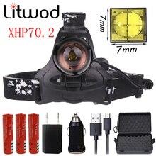 Litwod linterna frontal Z402608 Led con chip XHP70.2, potente zoom para caza, linterna
