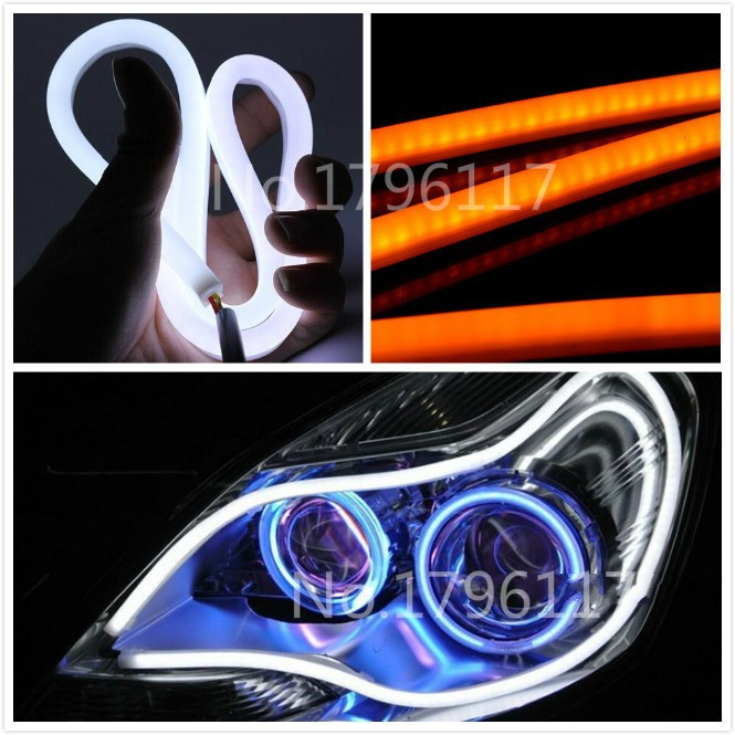 2Pcs/Lot 85cm White+Amber Flexible Car Headlight Daytime Lamp Switchback Strip Angel Eye DRL Decorative Light With Turn Signal