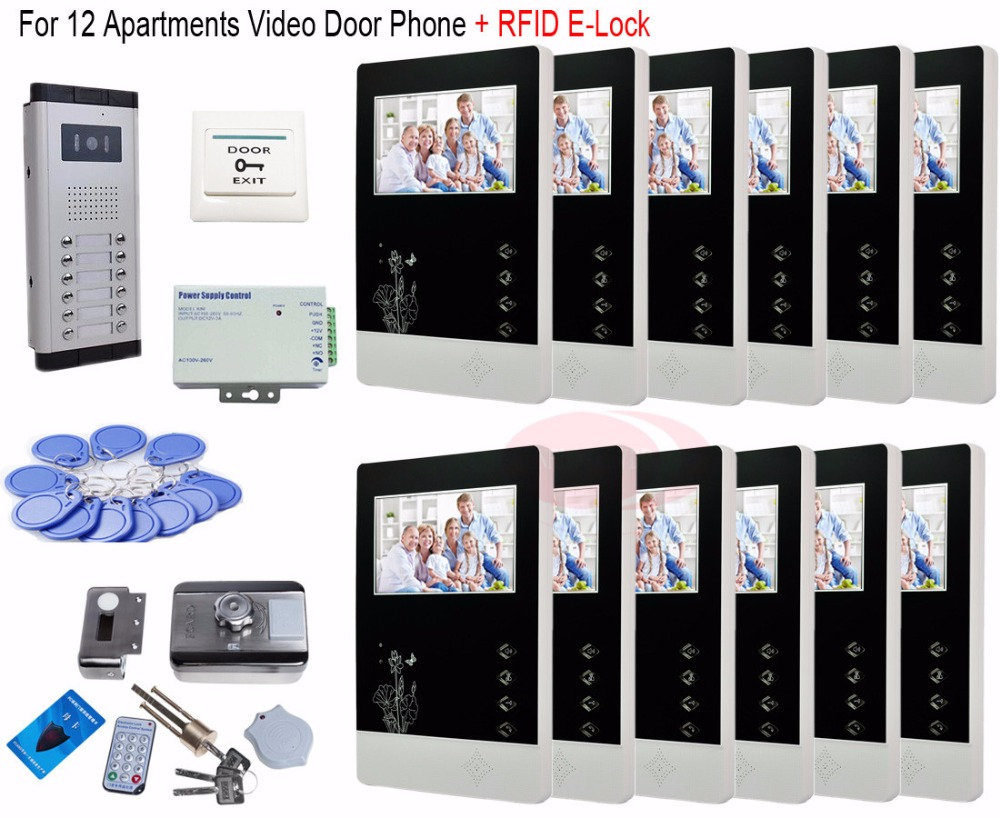 12 Units Video Door Phone Camera Intercom IR Night Vision Doorbell for 12 Units Apartment + RFID Electronic lock In Stock! 7v7 take photos color video door phone intercom doorbell system for seven units apartment electronic control lock