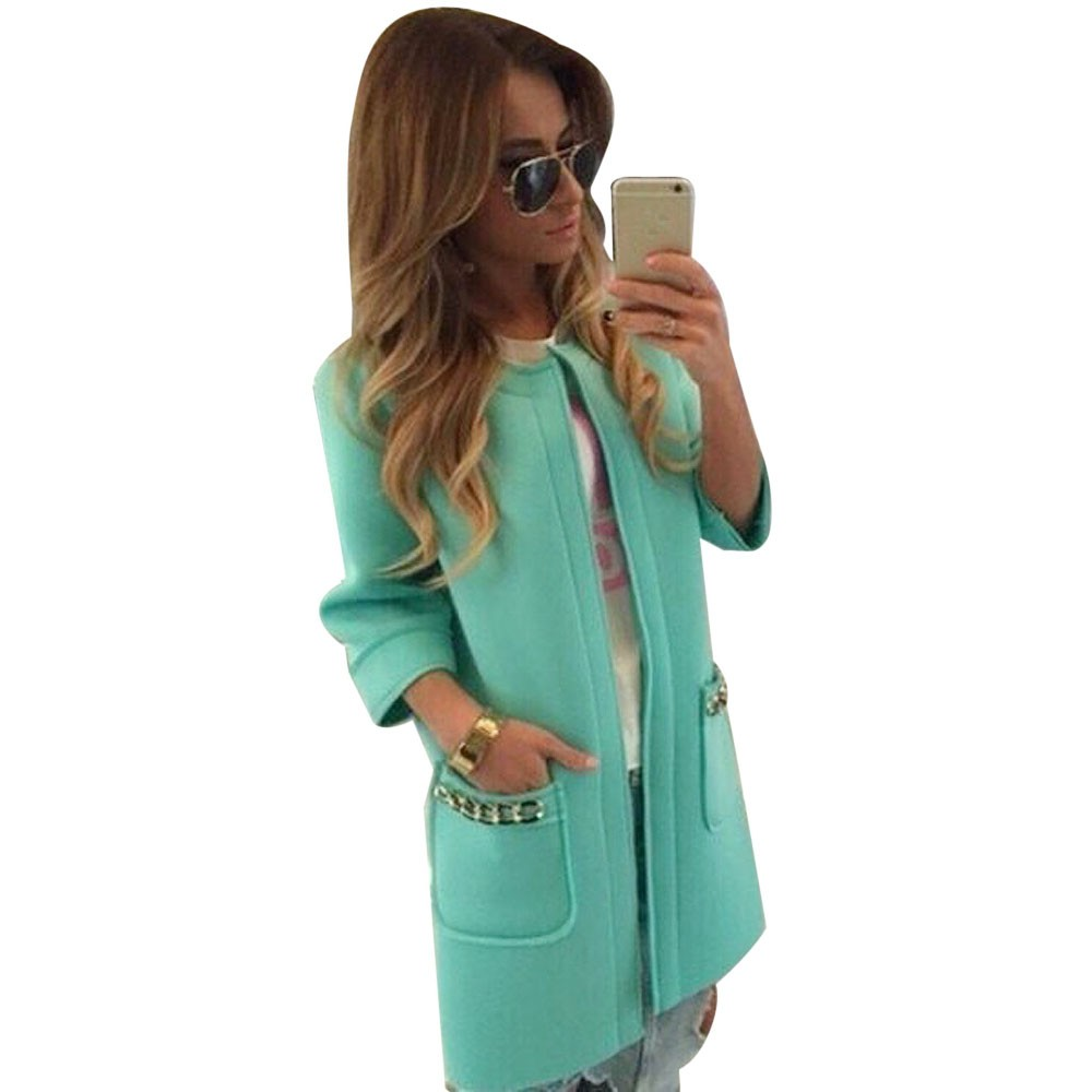 Women Winter Pocket Jacket Mint Green Outwear Parka
