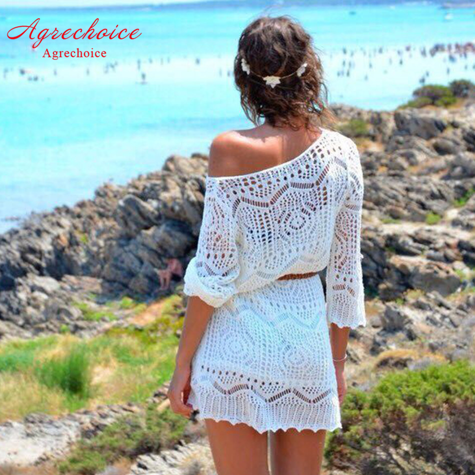 2019 New Bikini Cover Up Crochet Hollow Out Beach Dress Women Swimsuit Cover Up Tunics Sexy Bathing Suit Cover-Ups Beachwear XL