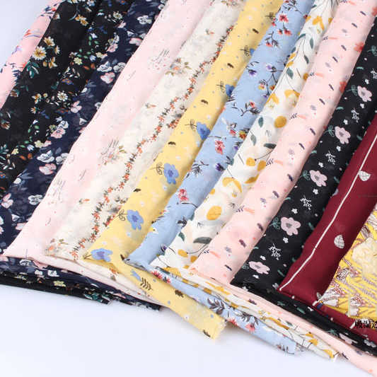 100*150cm New Fashion flower  Print Dress Fabric Chiffon Gauze Small floral fabrics by meter cotton prints D30