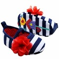 Infant Toddler Stripe First Walkers Flower Crib Shoes Soft Sole Kid Girls Baby Shoes Prewalker1