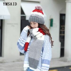 Image 1 - Женские шапки 2018, осенне зимние модные брендовые шапки, шарф, вязаный Двухсекционный женский шарф, повседневный длинный шарф Chapeu Feminino Bone