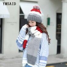 Women Hats 2018 Autumn Winter Fashion Brand Hats Scarf Knitting Two Piece Women Gorros Casual Long Scarf Chapeu Feminino Bone