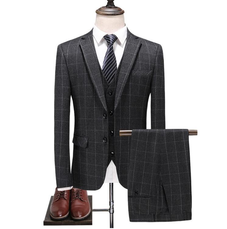 2019 Suit Custom Made High Quality Fashion Casual Plaid Suit Men Men's Business Classic Suits Plus-size Mens Wedding Wear