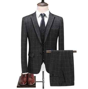 2019 Suit Custom Made High Quality Fashion Casual Plaid Suit Men Men's Business Classic Suits Plus-size Mens Wedding Wear - DISCOUNT ITEM  22% OFF All Category