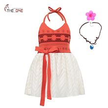 MUABABY Moana Dress up Clothes Baby Girls Strap Backless Vaiana Princess Cosplay Costume Toddler Kids Summer Beach Tutu Sundress(China)
