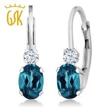 GemStoneKing Fashion 925 Sterling Silver Leverback Earrings 1.18 Ct Oval Natural London Blue Topaz  Earrings For Women