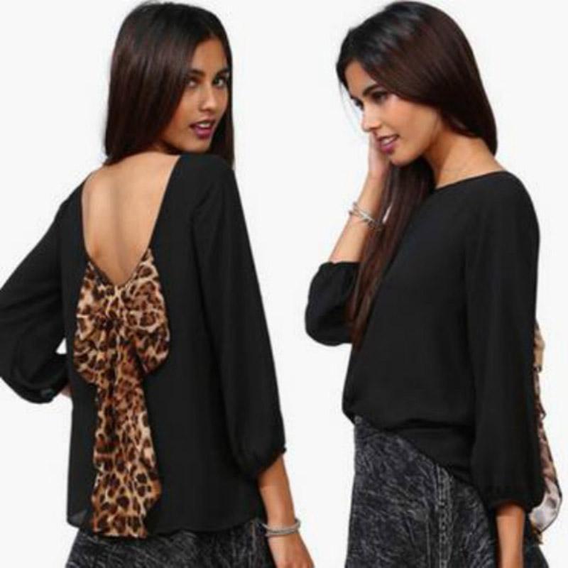 New Sexy font b Women s b font Fashion Leopard Chiffon Halter Loose font b Shirt