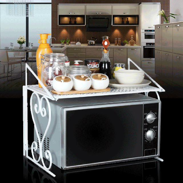 HIPSTEEN Microwave Oven Shelf Kitchen Organizer Tray Rack Counter And Cabinet  Shelf Home Kitchen Storage Holders