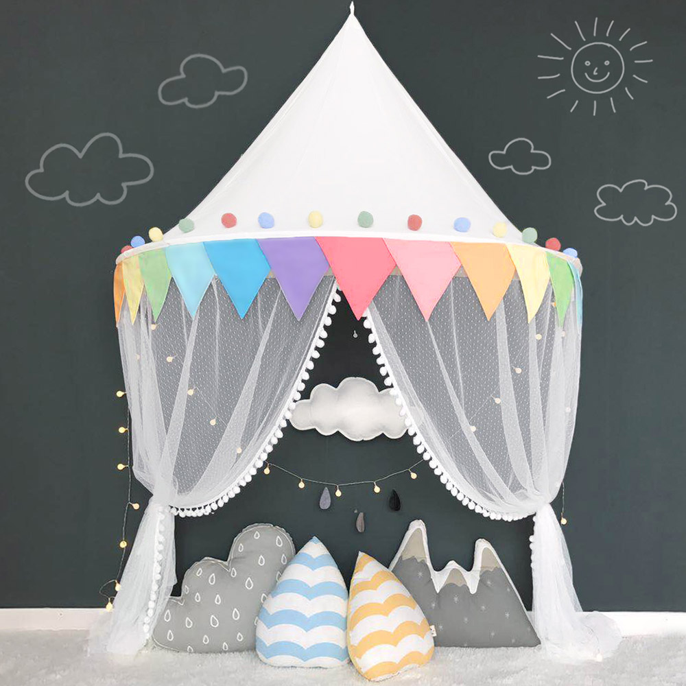 Teepee Kids Us 40 73 23 Off Kids Play Tent Teepee Indoor Play House Castle For Children Girls Tipi Tent Portable Crib Cot Bed Canopy Tent Baby Bedroom Decor In