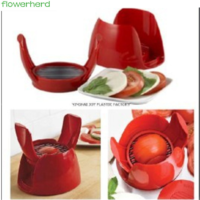 Good Quality Fruit Vegetable Cutter Tools Plastic Red Tomato Holder Slicer Guide Potato Onion
