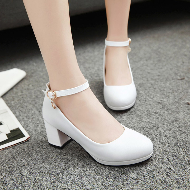 Chinese party style comfortable round toe pumps fashion rhinestone belt buckle black white red high-heeled thick women's shoes