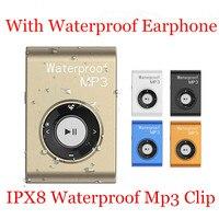 16GB IPX8 Mini Waterproof Swimming MP3 Clip Player with Waterproof Earphone MP3 Walkman Hifi Sereo Music With FM Radio MP3 Clip