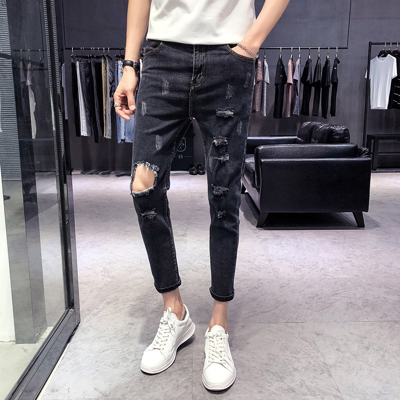 2018 Spring And Summer New Mens Jeans Tight Feet Solid Color Simple Casual Fashion Wild Personality Hole Street Tide Joggers
