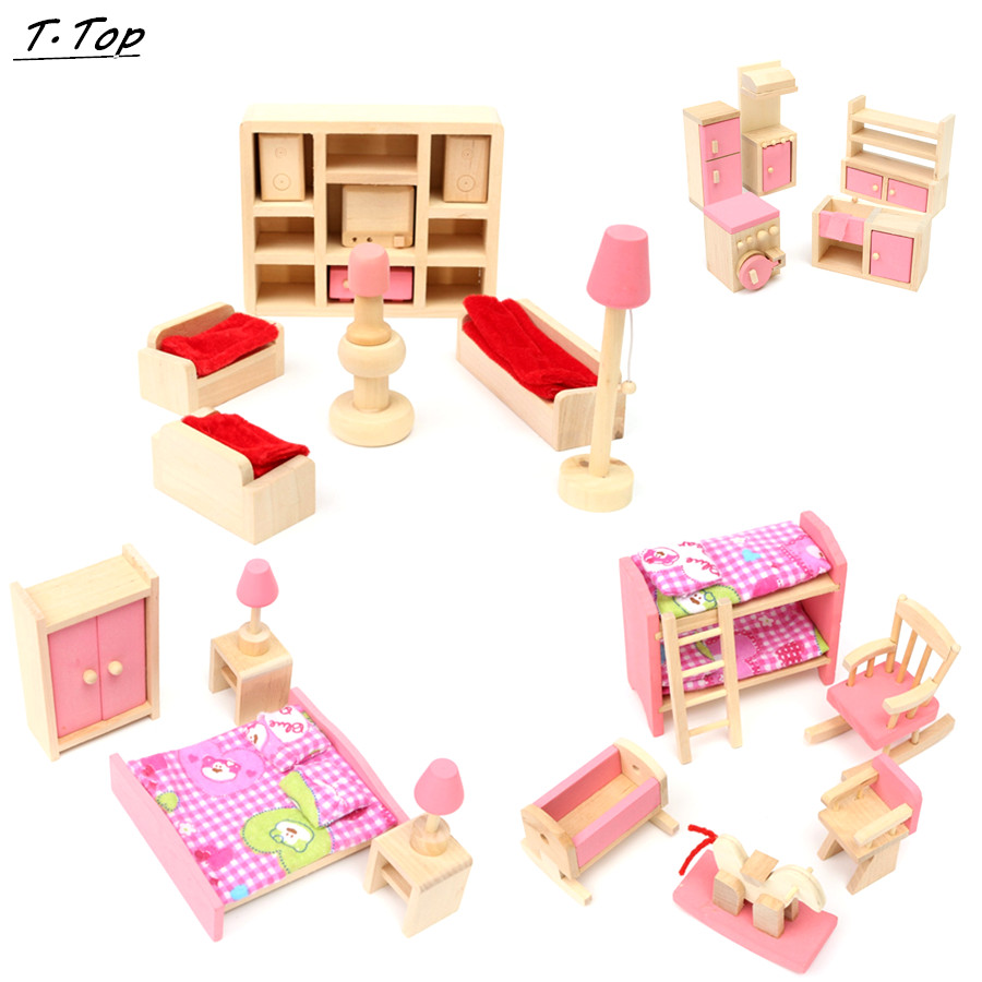wooden pink multi kinds of cute wooden miniature kids pretend play dollhouse furniture toy for kids affordable dollhouse furniture