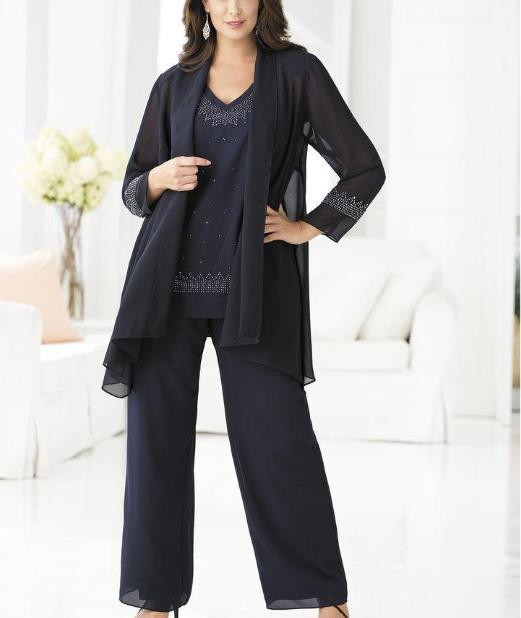 2016 Ming Blue Mother Of The Bride Pants Suits For