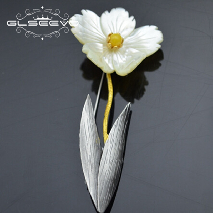 GLSEEVO Natural Beeswa Brooch Pins Mother Of Pearl Flower Brooches For Women Wedding Dual Use Designer Luxury Jewellery GO0292GLSEEVO Natural Beeswa Brooch Pins Mother Of Pearl Flower Brooches For Women Wedding Dual Use Designer Luxury Jewellery GO0292
