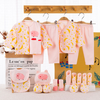 18 piece 100% Cotton Newborn Baby Girl Clothes Set Infant Baby Girl Summer Clothes Cartoon Baby Boys Clothing Toddler Hat Bibs new baby boy clothing set summer baby cotton bodysuit elephant printed romper animal bibs 3pcs set newborn baby girl clothes