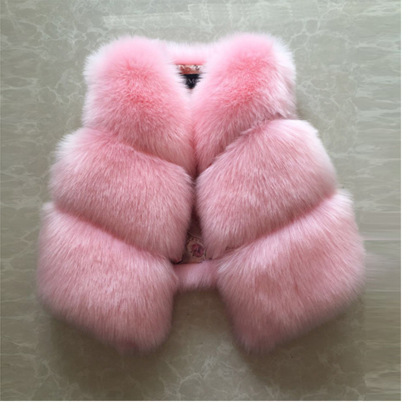 2-9 years old new children's girls baby fur vest short thick Korean vest faux fur coat boys Waistcoats hot sale all match tops christmas faux fur fitted velvet short party dress with hat