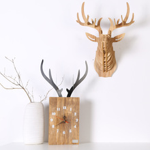 Modern Design Wall Clock For Home Decoration Vintage Wood Wall Clock Retro Europe Style Wild Animal Elk Nordic Deer CW001M