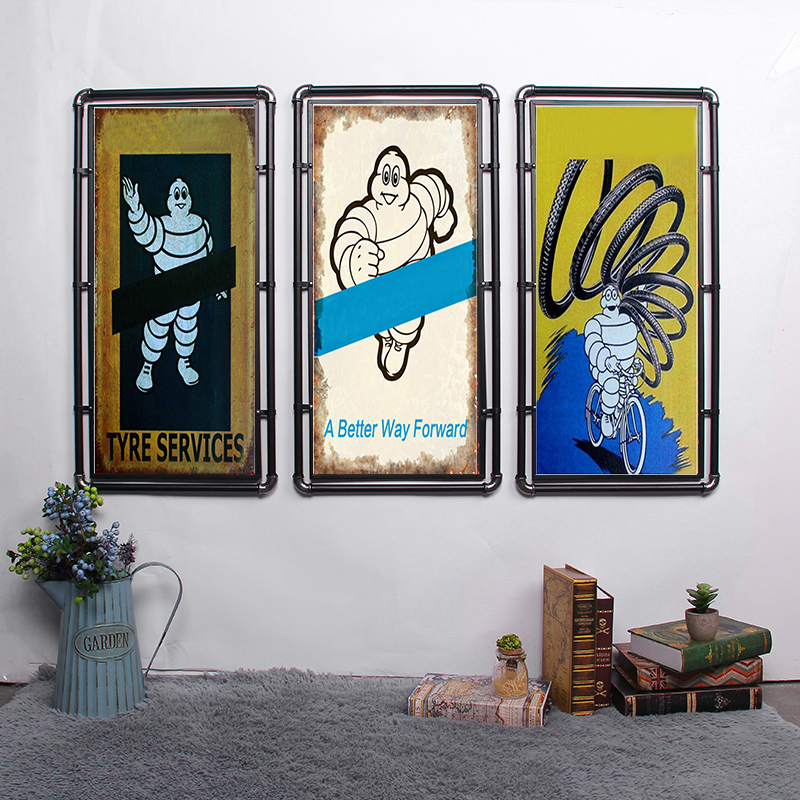 Servicios de neumáticos placa Retro Decoración de pared para Bar Pub cocina hogar póster clásico de Metal placa signos de Metal Placa de pintura BOTIMI, luces de techo LED de diseñador nórdico con pantallas de lámparas de Metal redondas blancas, decoración artística gris, lámparas de dormitorio montadas en el techo