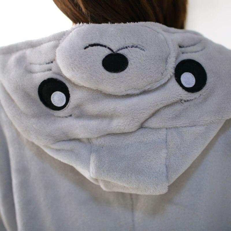 Fancy Grey Sea Lion Kigurumi Flannel Animal Onesies Soft Women Pajamas Party Bodysuit Cosplay Unisex Sleepwear Halloween Pyjamas (6)