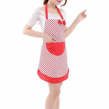 Women Polka-dot Bow Waterproof Apron Kitchen Restaurant Cooking Bib With Pocket  Knot Dot