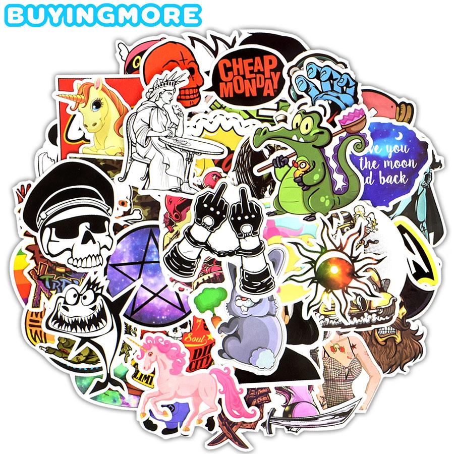 Autocollants motifs animés mixtes, autocollants JDM, dessin animé animaux, Graffiti Rock, à bricolage, guitare, Skateboard, voiture et bicyclette, 50 pièces