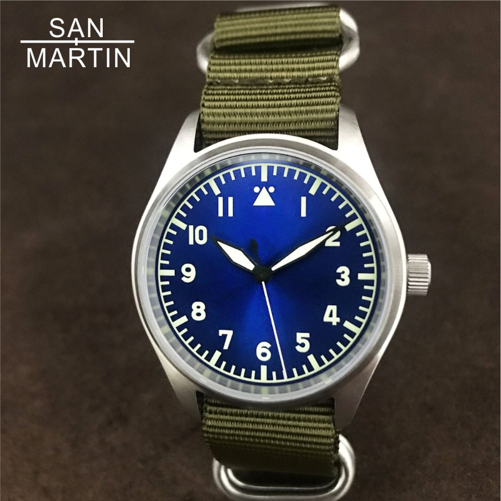 San Martin Fashion Women Men Pilot Watch Stainlss Steel Watch 200m Water Resistant NH35 Movement Wristwatch