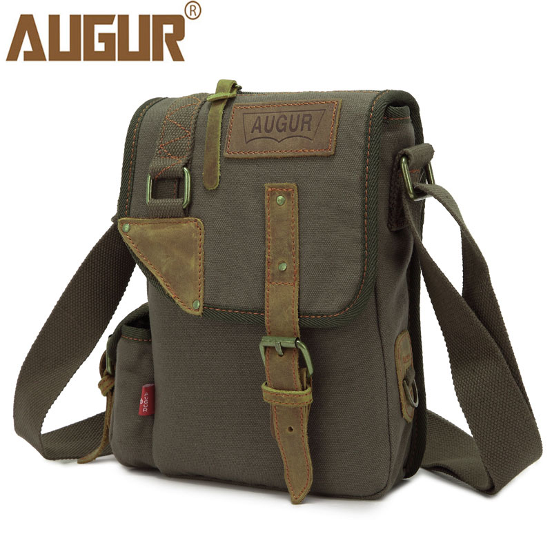 AUGUR Vintage Messenger Bag Women Men Canvas Crossbody Shoulder Bags Small Solid Travel Bags Male High Fashion Men's Bag цена 2017