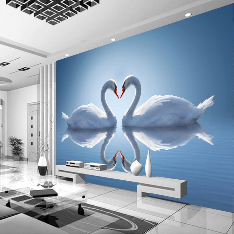 Buy romantic photo wallpaper swan lake for Mural unique