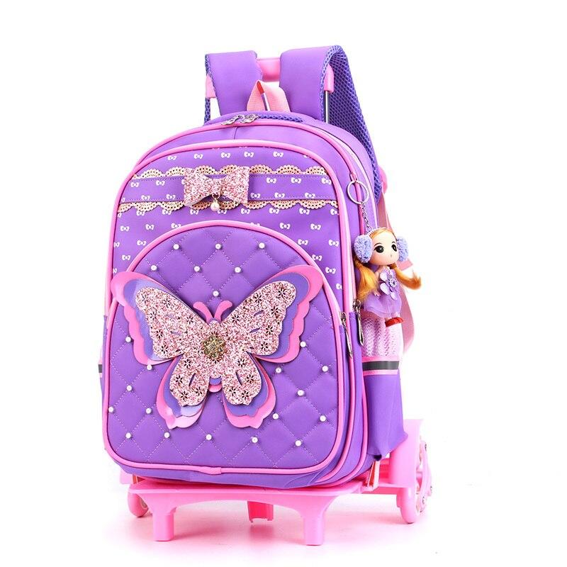 Kind Trolley Schule Tasche Glänzende Schmetterling Kinder Rädern Schulranzen Abnehmbare Design Multifunktions Mädchen Schule Tasche Mit 3 Räder-in Schultaschen aus Gepäck & Taschen bei  Gruppe 3